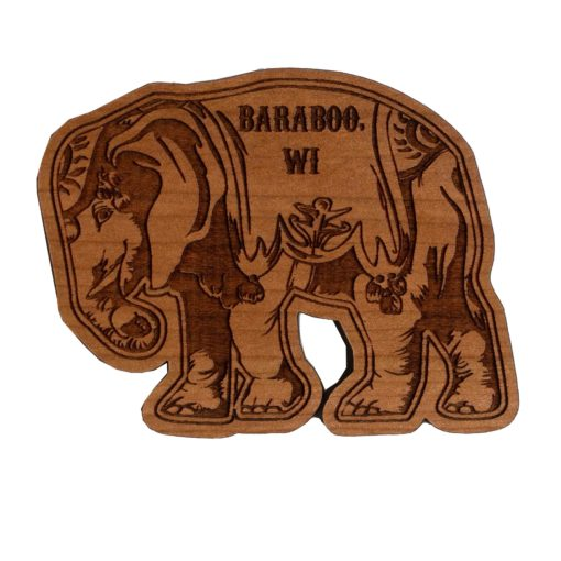 Wooden Magnet of elephant with Baraboo WI