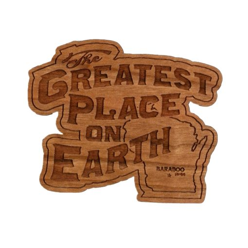 Wooden Magnet of logo and Wisconsin