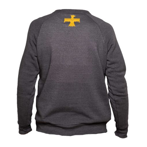 blue and gold crew back of sweatshirt
