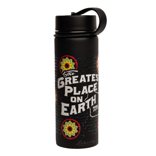 wagon wheel water bottle with logo of greatest place on earth black with wagon wheels