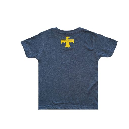 blue and gold t shirt back with baraboo thunderbird