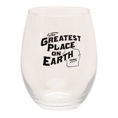 wine glass with greatest place on earth logo