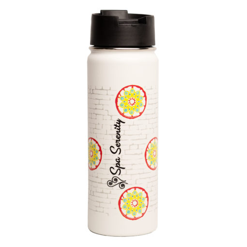 wagon wheel water bottle with logo of greatest place on earth with spa logo