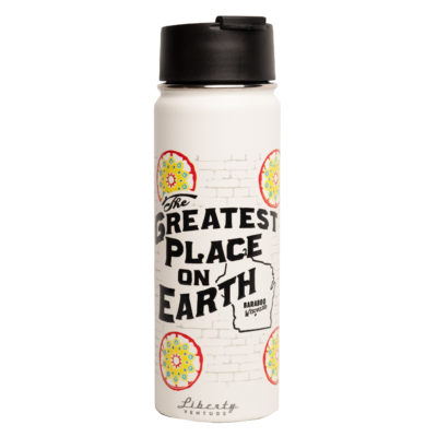 wagon wheel water bottle with logo of greatest place on earth